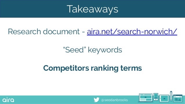 """@seodanbrooks Takeaways Research document - aira.net/search-norwich/ """"Seed"""" keywords Competitors ranking terms"""