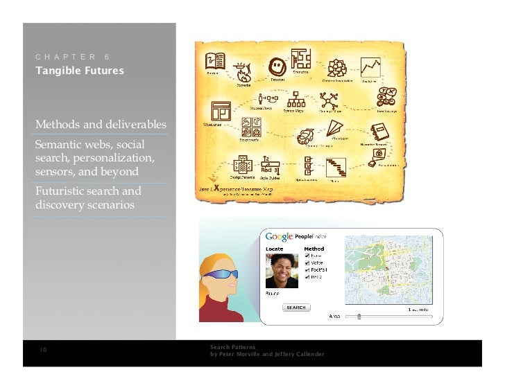 C H A P T E R   6 Tangible Futures     Methods and deliverables Semantic webs, social search, personalization, sensors, an...