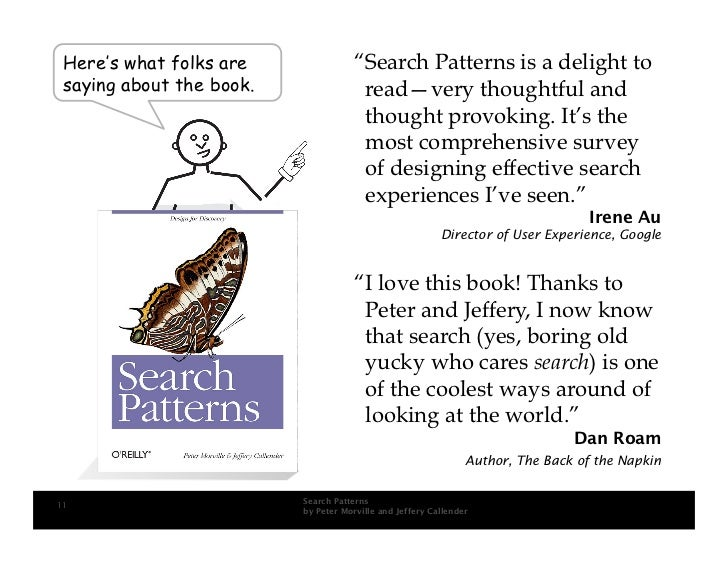 """Here's what folks are                """"Search Patterns is a delight to  saying about the book.                read—very tho..."""