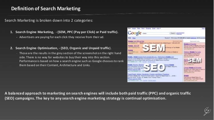 Definition of Search Marketing<br />Search Marketing is broken down into 2 categories:<br />Search Engine Marketing,  - (S...