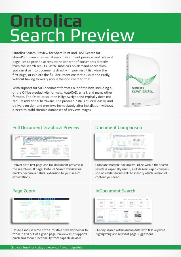 OntolicaSearch Preview Ontolica Search Preview for SharePoint and FAST Search for SharePoint combines visual search, docum...