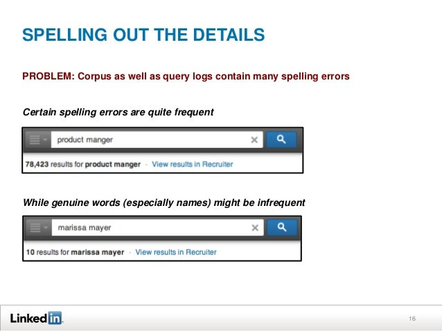 SPELLING OUT THE DETAILS PROBLEM: Corpus as well as query logs contain many spelling errors  Certain spelling errors are q...