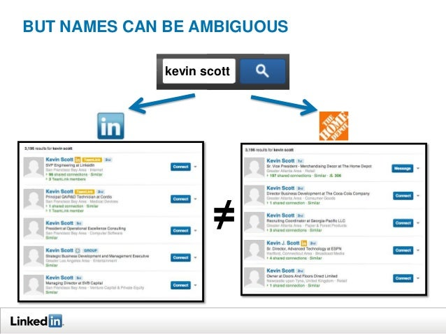 BUT NAMES CAN BE AMBIGUOUS kevin scott  ≠