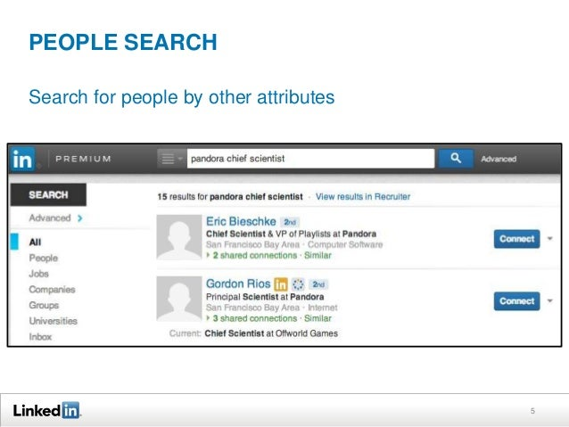 PEOPLE SEARCH Search for people by other attributes  5