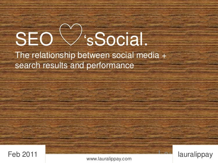 SEO      'sSocial.The relationship between social media + search results and performance<br />lauralippay<br />Feb 2011<br...