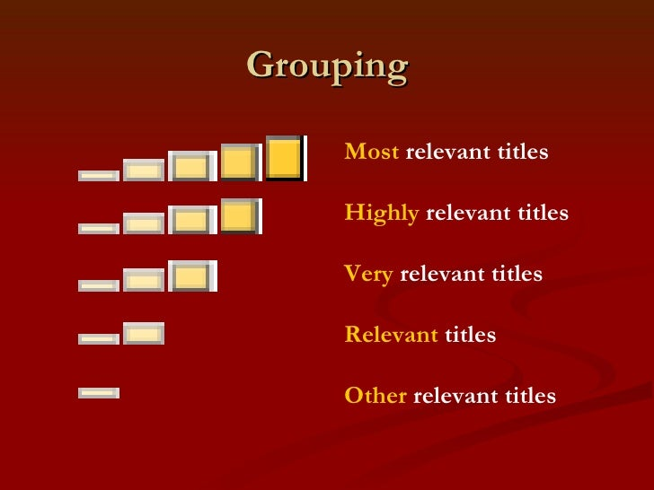 Grouping Most  relevant titles Highly  relevant titles  Very  relevant titles  Relevant  titles  Other  relevant ti...