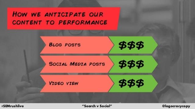 "#SEMrushlive ""Search v Social"" @logocracycopy"