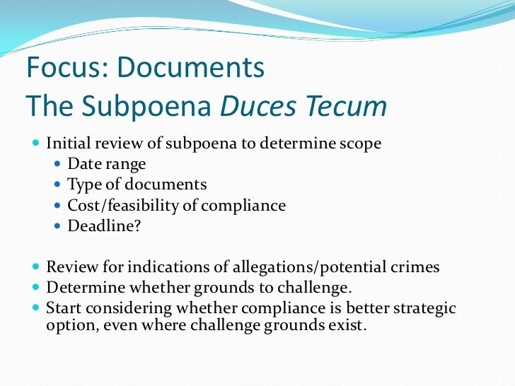 Responding to grand jury subpoenas search warrants 9 focus documentsthe subpoena duces tecum spiritdancerdesigns Gallery