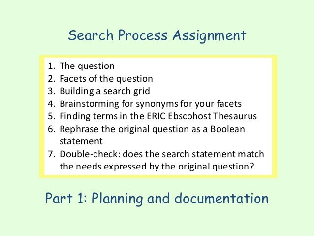 Search Process Assignment Part 1: Planning and documentation 1. The question 2. Facets of the question 3. Building a searc...