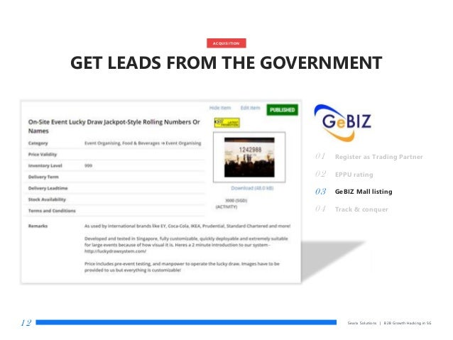 Searix Solutions | B2B Growth Hacking in SG12 01 Register as Trading Partner 02 EPPU rating 03 GeBIZ Mall listing 04 Track...