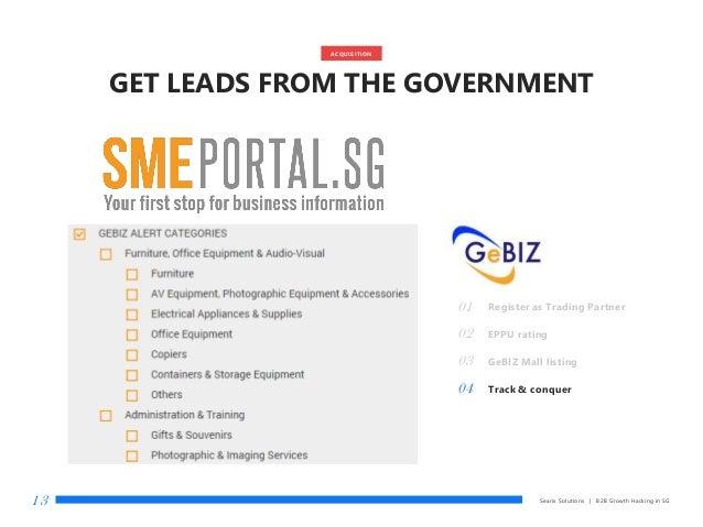 Searix Solutions | B2B Growth Hacking in SG13 01 Register as Trading Partner 02 EPPU rating 03 GeBIZ Mall listing 04 Track...