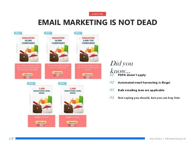 Searix Solutions | B2B Growth Hacking in SG18 Did you know…01 PDPA doesn't apply 02 Automated email harvesting is illegal ...