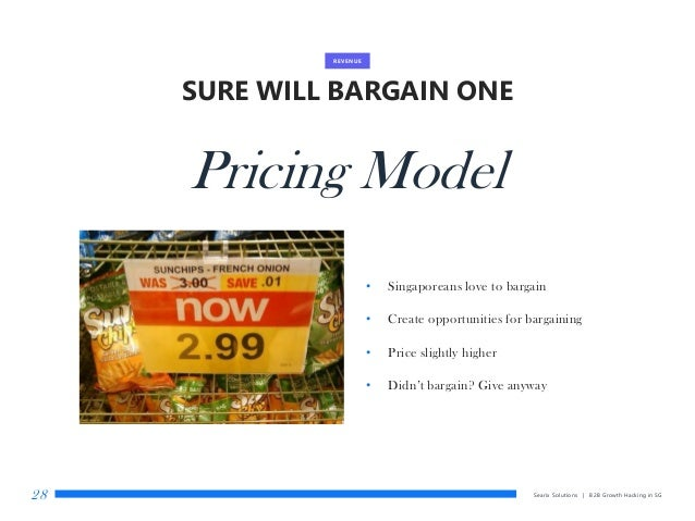 SURE WILL BARGAIN ONE Searix Solutions | B2B Growth Hacking in SG28 REVENUE Pricing Model • Singaporeans love to bargain •...