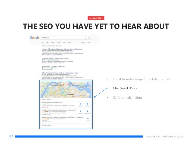 THE SEO YOU HAVE YET TO HEAR ABOUT • Local brands compete with big brands • The Snack Pack • Different algorithm Searix So...