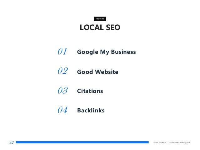 LOCAL SEO Searix Solutions | B2B Growth Hacking in SG32 Good Website FACTORS 01 02 Citations03 Backlinks04 Google My Busin...