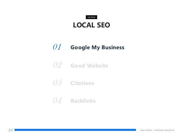 LOCAL SEO Searix Solutions | B2B Growth Hacking in SG33 Good Website FACTORS 01 02 Citations03 Backlinks04 Google My Busin...