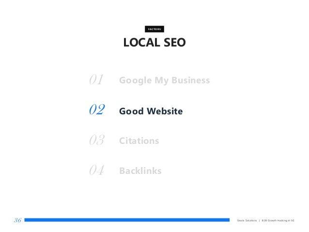 LOCAL SEO Searix Solutions | B2B Growth Hacking in SG36 Good Website FACTORS 01 02 Citations03 Backlinks04 Google My Busin...