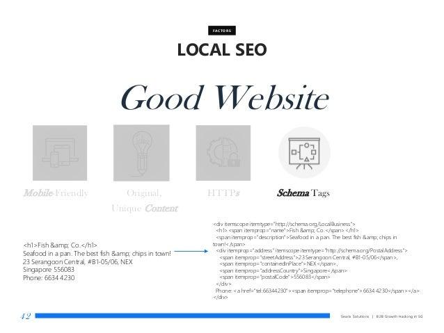Searix Solutions | B2B Growth Hacking in SG42 LOCAL SEO FACTORS Good Website Mobile-Friendly Original, Unique Content HTTP...