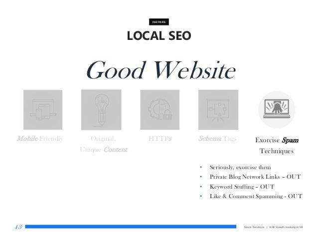 Searix Solutions | B2B Growth Hacking in SG43 LOCAL SEO FACTORS Good Website Mobile-Friendly Original, Unique Content HTTP...