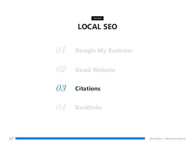 LOCAL SEO Searix Solutions | B2B Growth Hacking in SG47 Good Website FACTORS 01 02 Citations03 Backlinks04 Google My Busin...