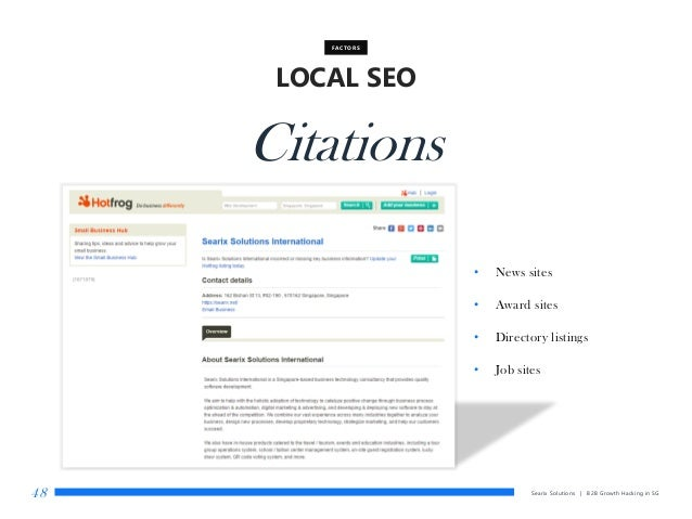 Searix Solutions | B2B Growth Hacking in SG48 LOCAL SEO FACTORS Citations • News sites • Award sites • Directory listings ...