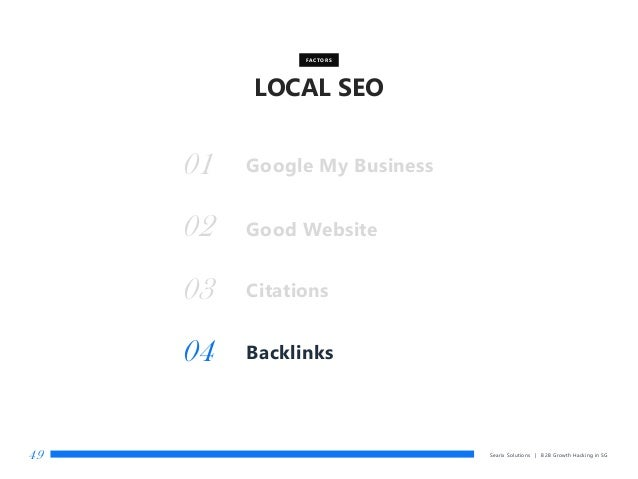 LOCAL SEO Searix Solutions | B2B Growth Hacking in SG49 Good Website FACTORS 01 02 Citations03 Backlinks04 Google My Busin...