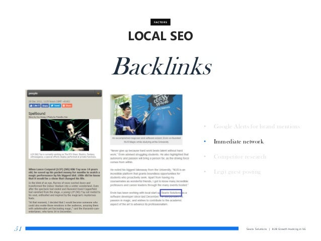 Searix Solutions | B2B Growth Hacking in SG51 LOCAL SEO FACTORS Backlinks • Google Alerts for brand mentions • Immediate n...