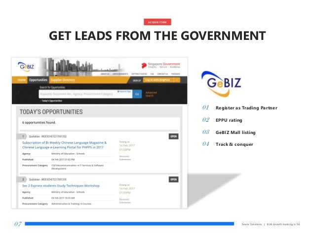 GET LEADS FROM THE GOVERNMENT Searix Solutions | B2B Growth Hacking in SG07 01 Register as Trading Partner 02 EPPU rating ...