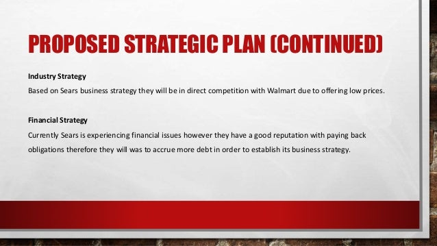 PROPOSED STRATEGIC PLAN (CONTINUED) Industry Strategy Based on Sears business strategy they will be in direct competition ...