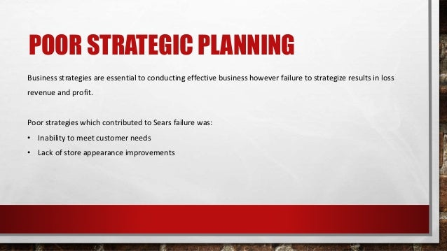 POOR STRATEGIC PLANNING Business strategies are essential to conducting effective business however failure to strategize r...