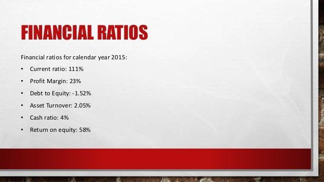 FINANCIAL RATIOS Financial ratios for calendar year 2015: • Current ratio: 111% • Profit Margin: 23% • Debt to Equity: -1....
