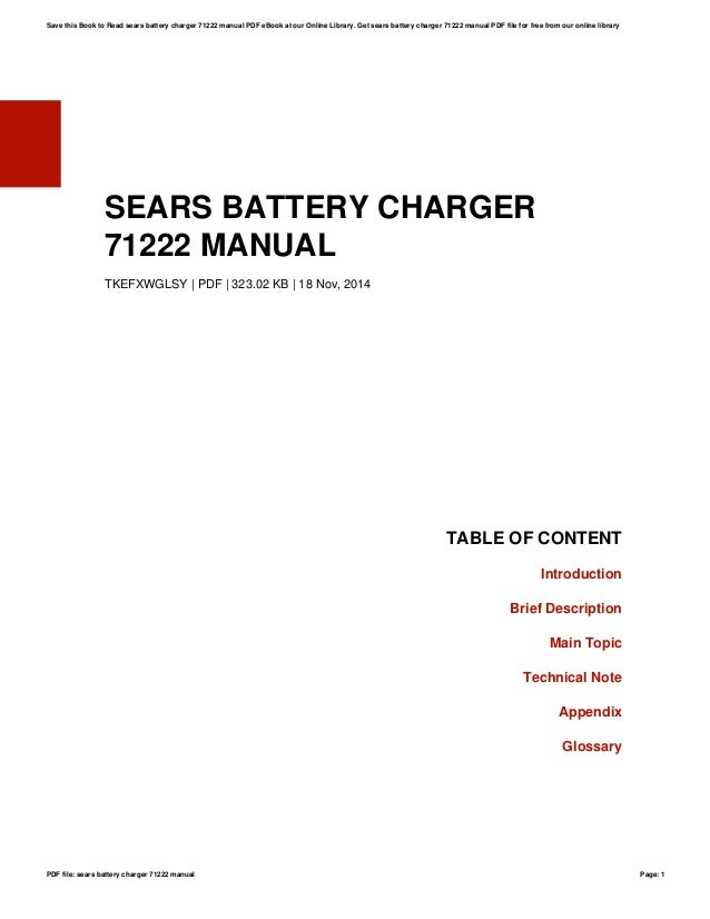 sears battery charger 71222 manual rh slideshare net Sears Car Battery Charger Bernice LA 71222