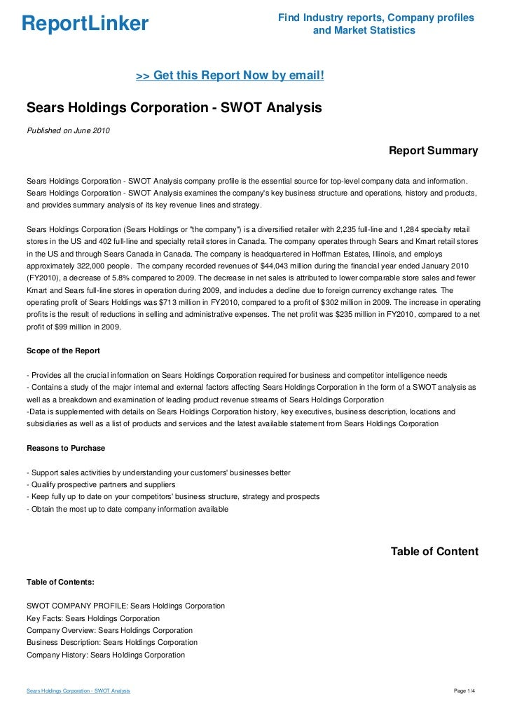 company analysis sears holding corporation Individual case presentation on sears holdings corp for mktg 560.