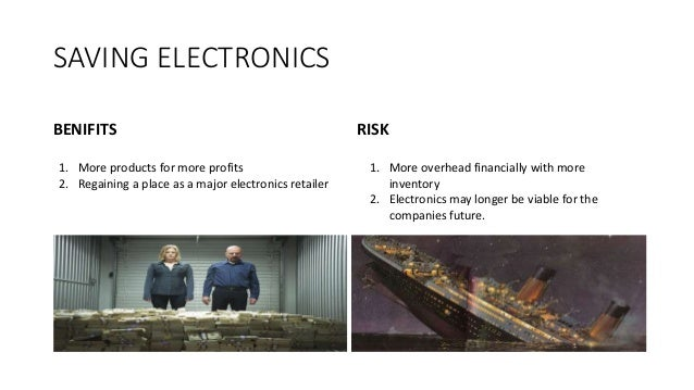 SAVING ELECTRONICS BENIFITS RISK 1. More products for more profits 2. Regaining a place as a major electronics retailer 1....