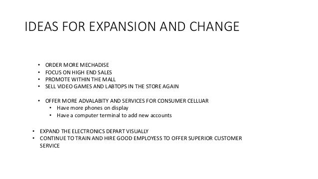 IDEAS FOR EXPANSION AND CHANGE • ORDER MORE MECHADISE • FOCUS ON HIGH END SALES • PROMOTE WITHIN THE MALL • SELL VIDEO GAM...