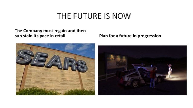 THE FUTURE IS NOW The Company must regain and then sub stain its pace in retail Plan for a future in progression