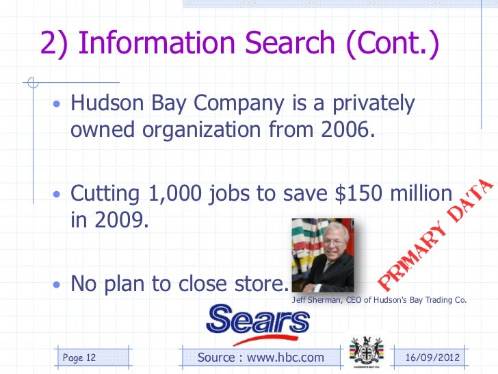 2) Information Search (Cont.)• Hudson Bay Company is a privately  owned organization from 2006.• Cutting 1,000 jobs to sav...