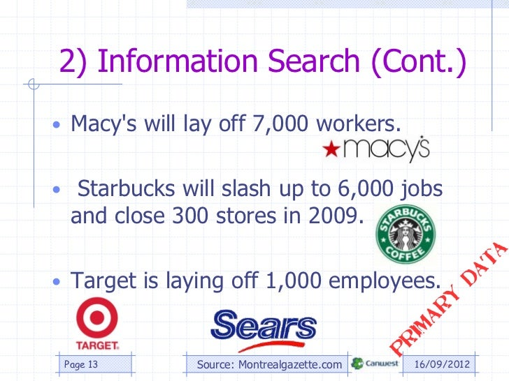 2) Information Search (Cont.)• Macys will lay off 7,000 workers.• Starbucks will slash up to 6,000 jobs  and close 300 sto...