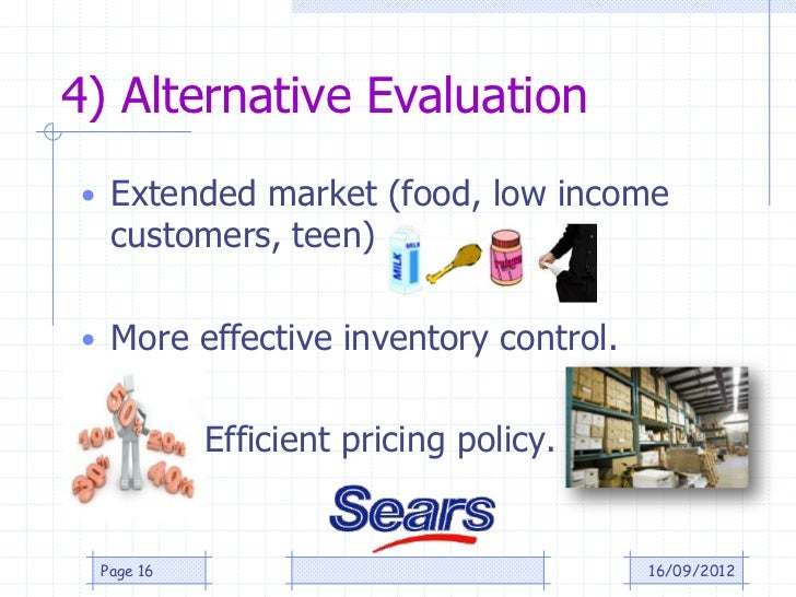 4) Alternative Evaluation• Extended market (food, low income  customers, teen)• More effective inventory control.         ...
