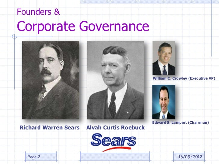 Founders &Corporate Governance                                              William C. Crowley (Executive VP)             ...