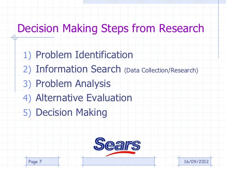 Decision Making Steps from Research 1) Problem Identification 2) Information Search   (Data Collection/Research) 3) Proble...
