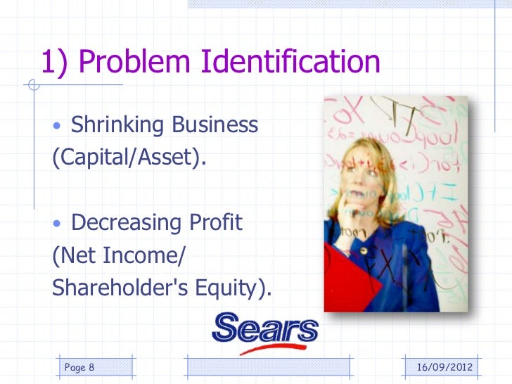 1) Problem Identification• Shrinking Business(Capital/Asset).• Decreasing Profit(Net Income/Shareholders Equity). Page 8  ...