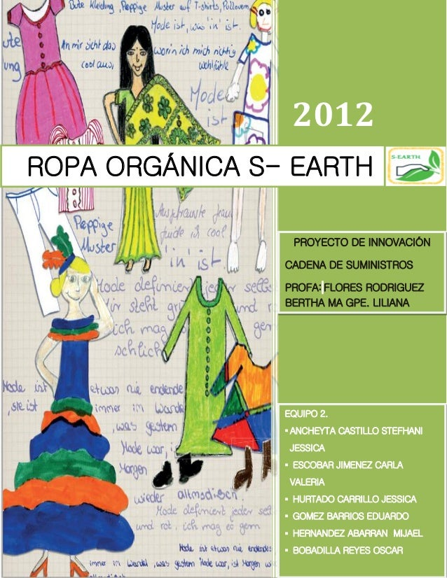 2012ROPA ORGÁNICA S- EARTH                 PROYECTO DE INNOVACIÓN                CADENA DE SUMINISTROS                PROF...