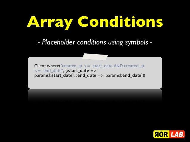 """Array Conditions - Placeholder conditions using symbols -Client.where(""""created_at >= :start_date AND created_at<= :end_dat..."""