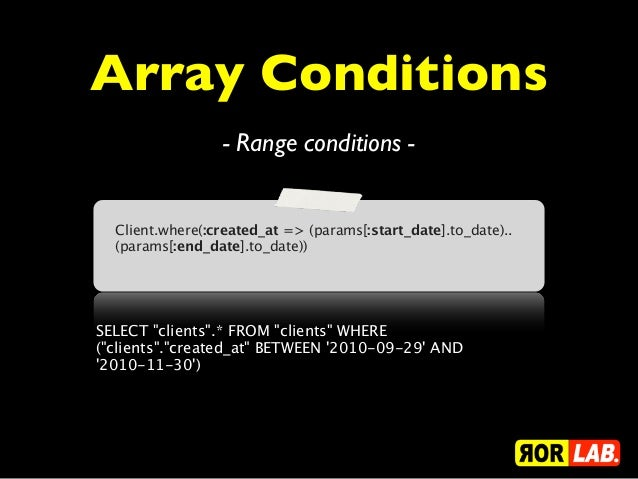 Array Conditions                 - Range conditions -  Client.where(:created_at => (params[:start_date].to_date)..  (param...