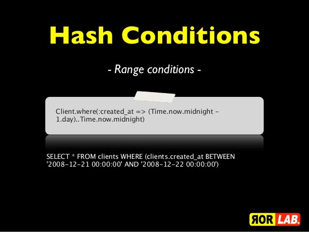 Hash Conditions                 - Range conditions -  Client.where(:created_at => (Time.now.midnight -  1.day)..Time.now.m...