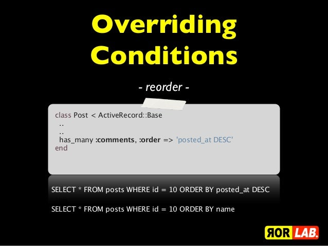 Overriding          Conditions                      - reorder -class Post < ActiveRecord::Base....has_many :comments...