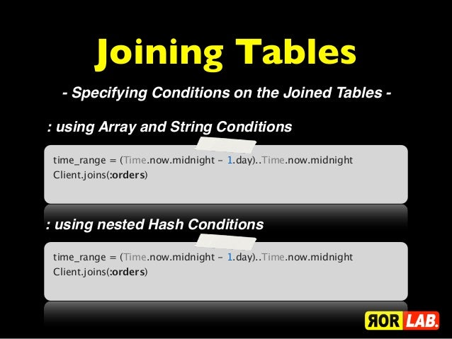 Joining Tables  - Specifying Conditions on the Joined Tables -: using Array and String Conditions time_range = (Time.now.m...