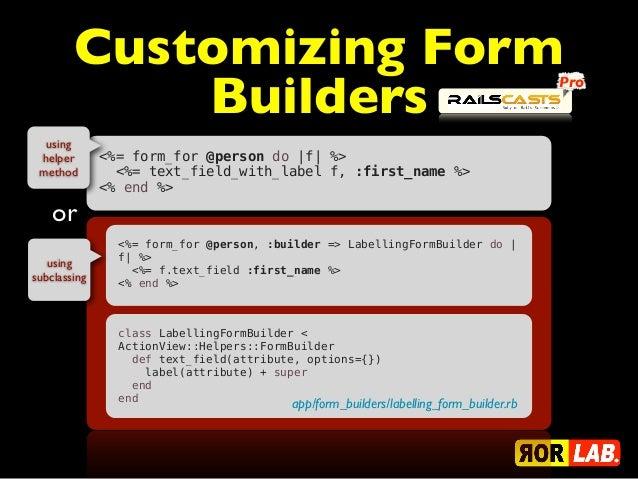 Customizing Form            Builders                                                                   Pro  using helper  ...