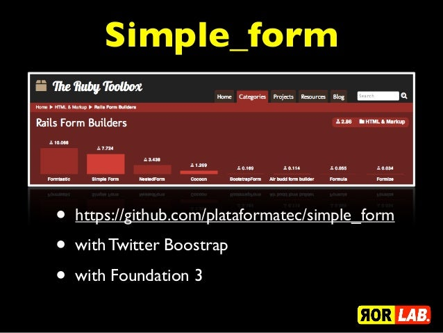 Simple_form•   https://github.com/plataformatec/simple_form•   with Twitter Boostrap•   with Foundation 3
